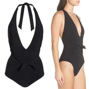 Tory Burch Tie Front Black One Piece Swimsuit